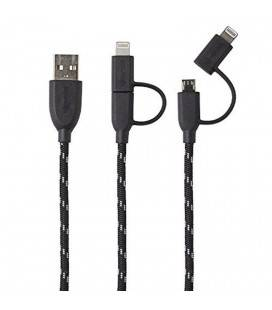 BOOMPODS CABLE DUO TRENZADO 1M LIGHTNING/MICRO USB A USB